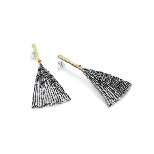 Wings Of Desire Oxidised Silver Earrings-Earrings-Apostolos Jewellery-JewelStreet