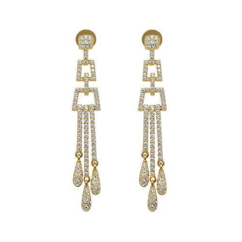 Yellow Deco Chandelier Earrings-Earrings-Lustre of London-JewelStreet