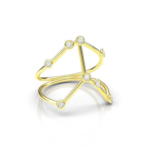 Yellow Gold Cancer Star Sign Constellation Ring-Rings-Jessie V E-JewelStreet