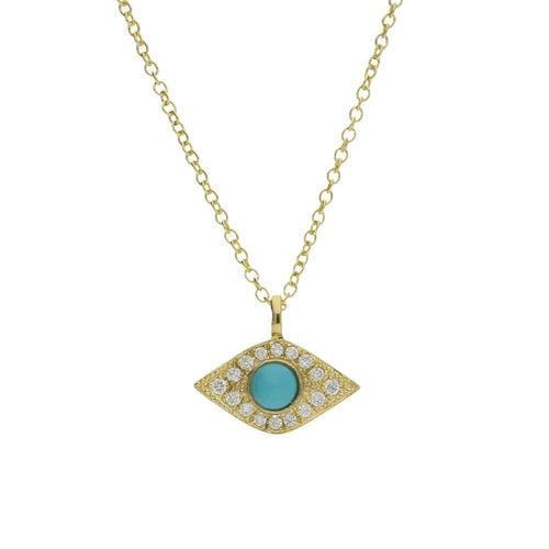 Yellow Gold Diamond and Turquoise Enchanted Evil Eye Pendant-Necklaces-London Road Jewellery-JewelStreet