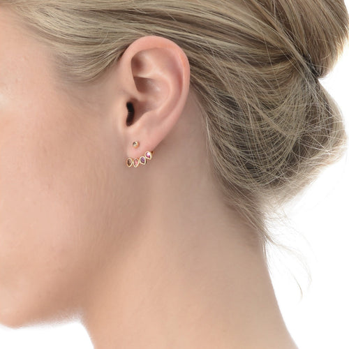 Yellow Gold Ear Stud with Jacket Mosaik-Earrings-Perle de Lune-JewelStreet