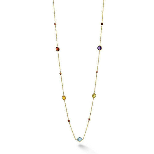 Yellow Gold Multi Colour Short Necklace-Necklaces-BCOUTURE-JewelStreet