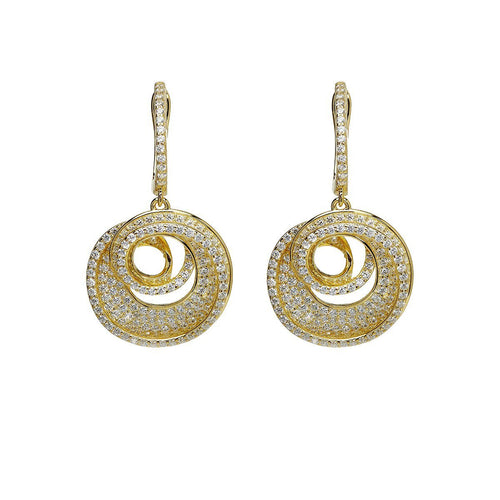 Yellow Spiral Drop Earrings-Earrings-Lustre of London-JewelStreet