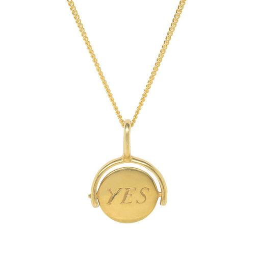 Yes/No Choice Gold Plated Charm-Necklaces-Katie Mullally-JewelStreet