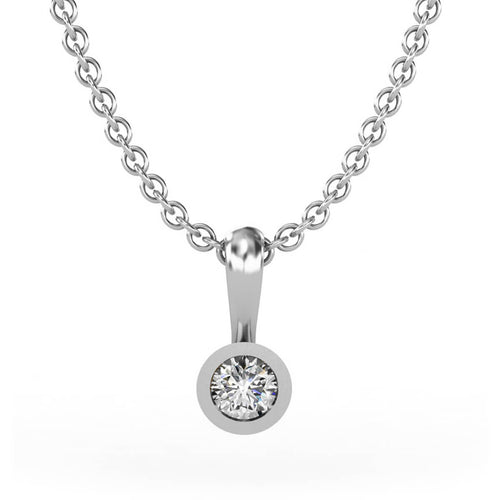 18kt White Gold Solitaire Pendant 0,10 ct I ,[product vendor],JewelStreet