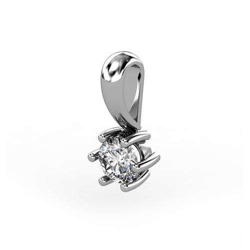 18kt White Gold Solitaire Pendant 0,10 ct III ,[product vendor],JewelStreet