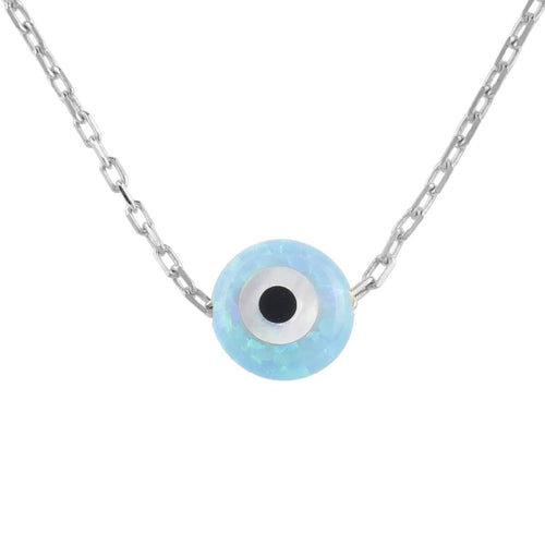 Sterling Silver Mini Opalite Evil Eye Necklace