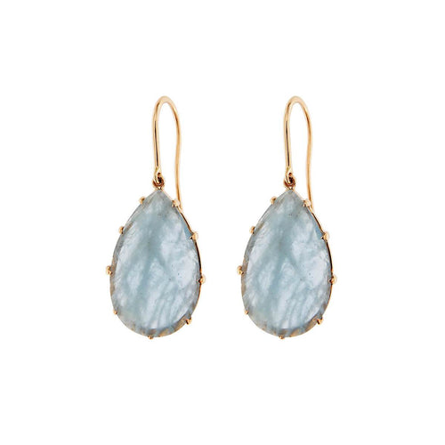 18kt Yellow Gold Handcrafted Italian Aquamarine Pendant Earrings