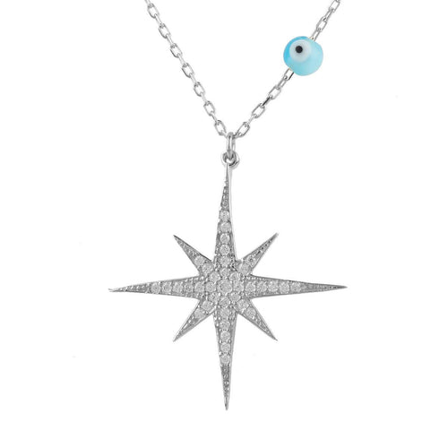Sterling Silver Starburst Opalite Evil Eye Necklace