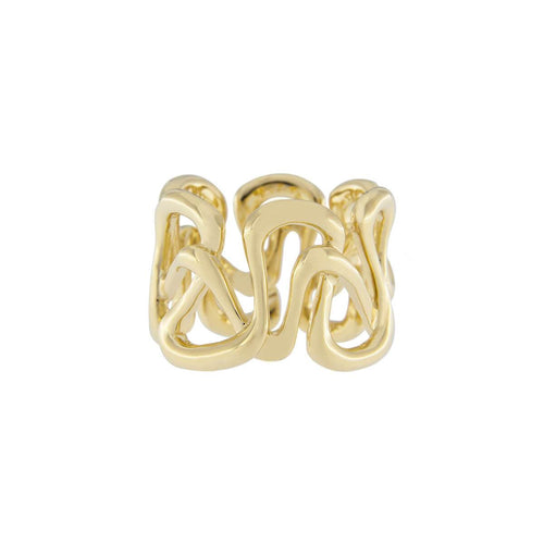 18kt Yellow Gold Handcrafted Italian Swirl Band Ring