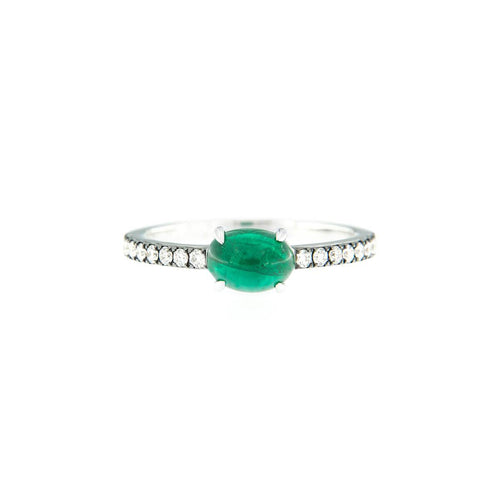 18kt White Gold Handcrafted Italian Emerald Solitaire Ring