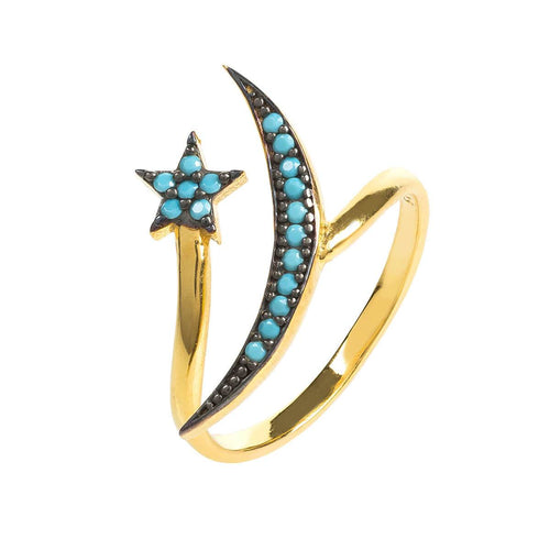 Yellow Gold Plated Moon & Star Ring With Turquoise Cubic Zirconia