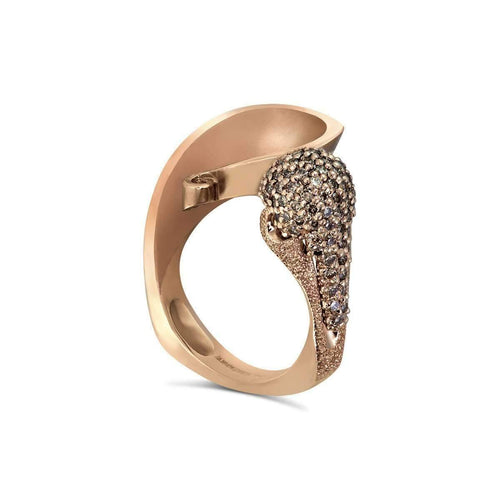 Champagne Diamonds And Rose Gold Calla Ring-Alex Soldier-JewelStreet US