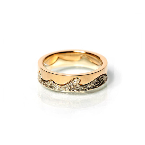 9kt White & Yellow Gold Wave 1 Ring ,[product vendor],JewelStreet
