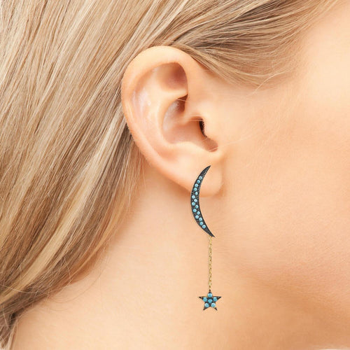 Yellow Gold Plated Moon & Star Earrings With Turquoise Cubic Zirconia ,[product vendor],JewelStreet