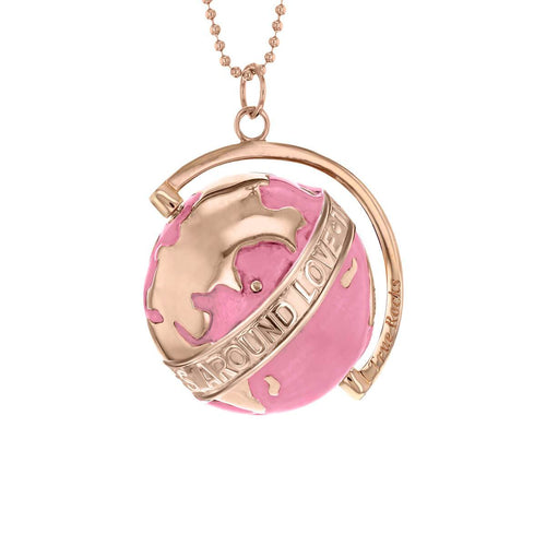 18kt Rose Gold Plated & Pink Medium Spinning Globe Necklace