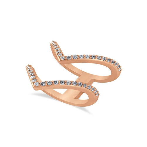 Rose Gold & Diamond Double V Chevron Fashion Ring | Allurez