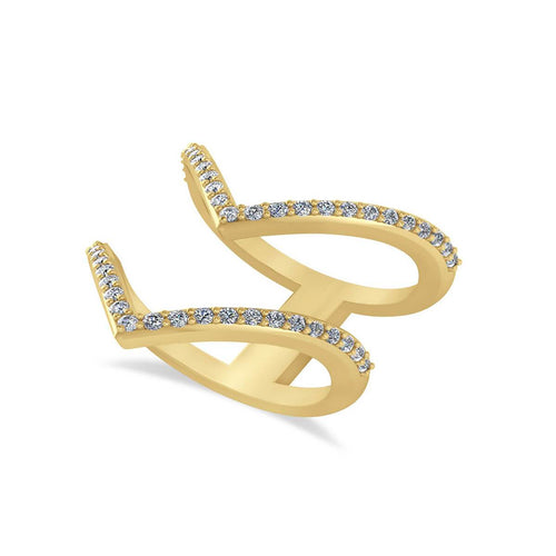 Yellow Gold & Diamond Double V Chevron Fashion Ring | Allurez