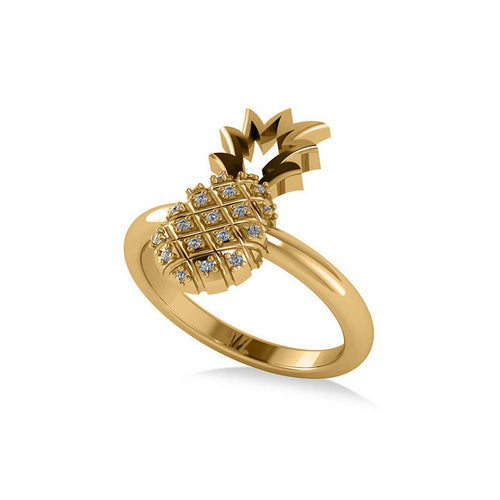 Yellow Gold & Diamond Pineapple Fashion Ring | Allurez