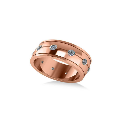 Rose Gold & Diamond Men's Eternity Wedding Band | Allurez