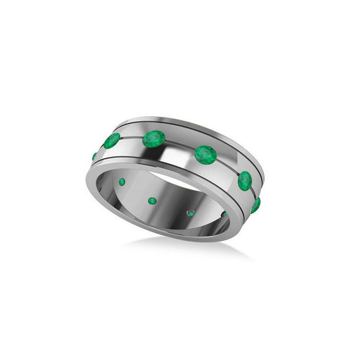 White Gold & Emerald Men's Eternity Wedding Band | Allurez