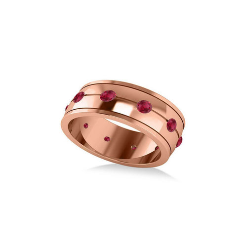 Rose Gold & Ruby Men's Eternity Wedding Band | Allurez