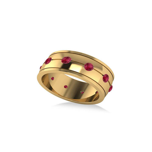Yellow Gold & Ruby Ring Eternity Wedding Band | Allurez