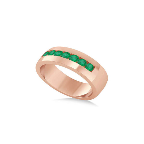 Rose Gold & Emerald Men's Wedding Band | Allurez