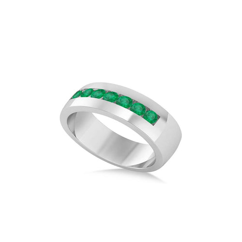 White Gold & Emerald Men's Wedding Band | Allurez