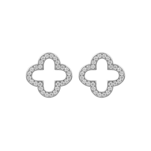 Rhodium Plated Open Clover Earrings