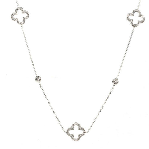 Rhodium Plated Long Open Clover Necklace