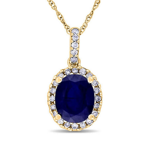 Yellow Gold Blue Sapphire & Halo Diamond Pendant Necklace | Allurez