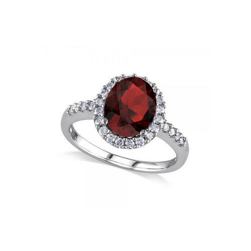 White Gold, Oval Garnet & Halo Diamond Engagement Ring | Allurez
