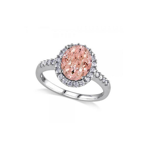 White Gold Oval Morganite & Halo Diamond Engagement Ring | Allurez