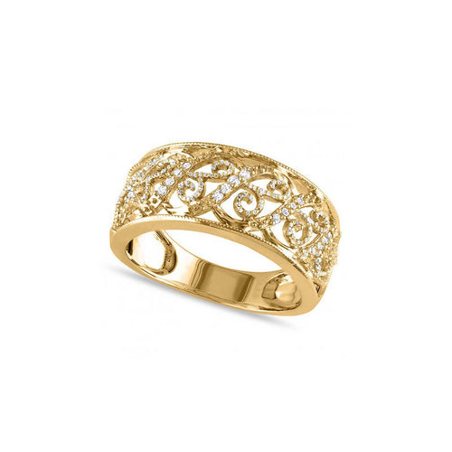 Yellow Gold Filigree Diamond Ring | Allurez