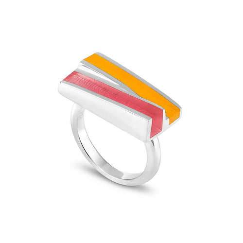 Silver Poppy Ring With Bubble Gum & Marmalade Resin ,[product vendor],JewelStreet