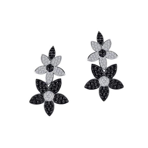 Lafonn Lassaire Black-and-White Double-Flower Ear Climbers-Lafonn-JewelStreet US
