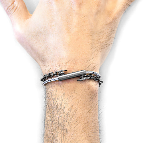 Grey Dash Belfast Silver And Rope Bracelet ,[product vendor],JewelStreet