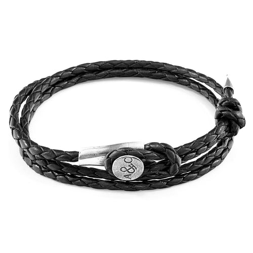 Coal Black Dundee Silver and Braided Leather Bracelet ,[product vendor],JewelStreet