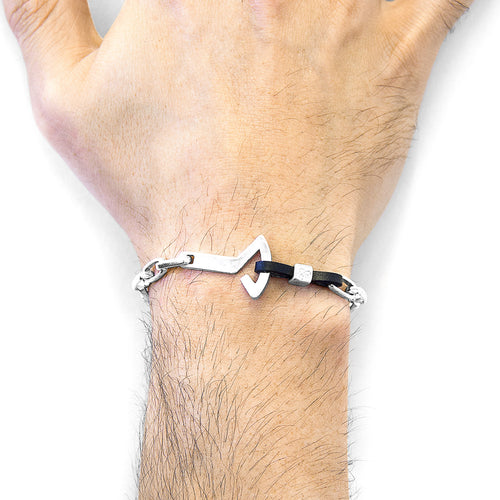 Coal Black Frigate Anchor Silver and Flat Leather Bracelet ,[product vendor],JewelStreet