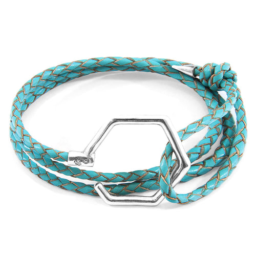 Turquoise Blue Storey Silver & Braided Leather Bracelet ,[product vendor],JewelStreet