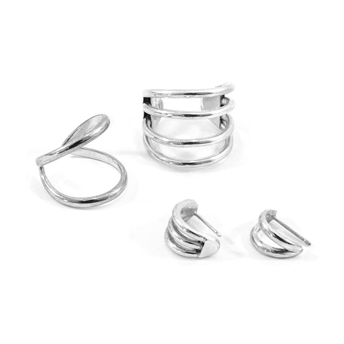 Huntington Surf Silver Earring Studs ,[product vendor],JewelStreet