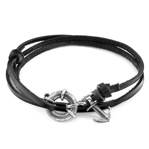 Coal Black Clyde Anchor Silver and Flat Leather Bracelet ,[product vendor],JewelStreet