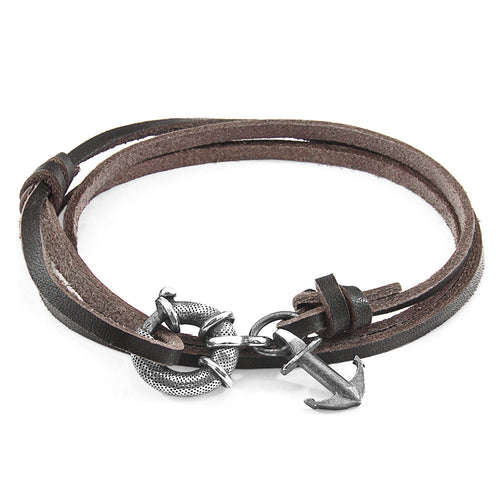 Dark Brown Clyde Anchor Silver and Flat Leather Bracelet ,[product vendor],JewelStreet