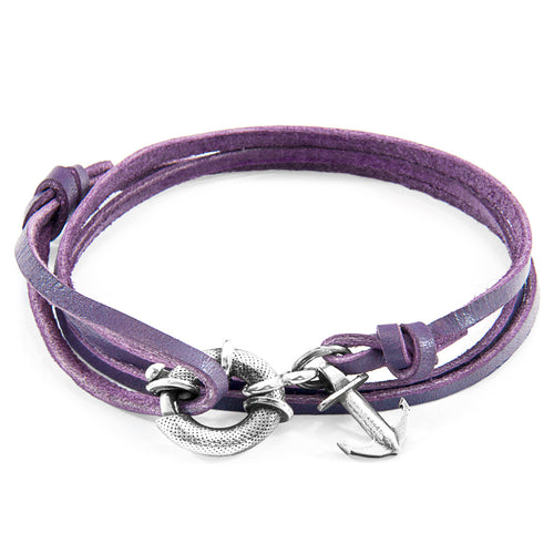 Grape Purple Clyde Anchor Silver and Flat Leather Bracelet ,[product vendor],JewelStreet