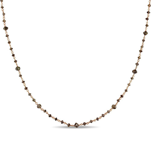 Rose Gold Bead Brown Diamond Necklace | Allurez