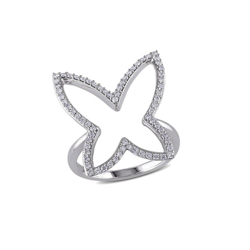 White Gold & Diamond Butterfly Fashion Ring | Allurez
