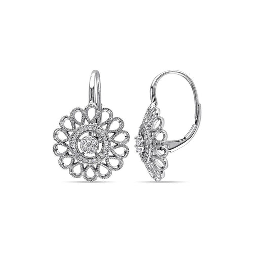 White Gold & Diamond Flower Leverback Earrings | Allurez