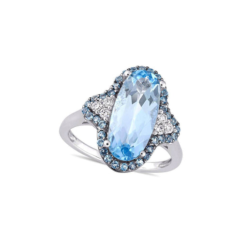 White Gold & Oval Blue Topaz Diamond Fashion Ring | Allurez