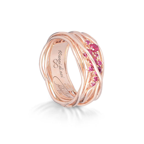 18kt Rose Gold Ten Oro Rosa Rubini Ring ,[product vendor],JewelStreet